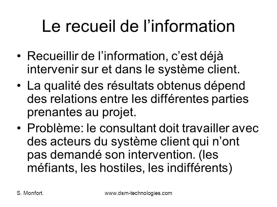 S. Monfort.www.dsm-technologies.com Le recueil de linformation Recueillir de linformation, cest déjà intervenir sur et dans le système client. La qual