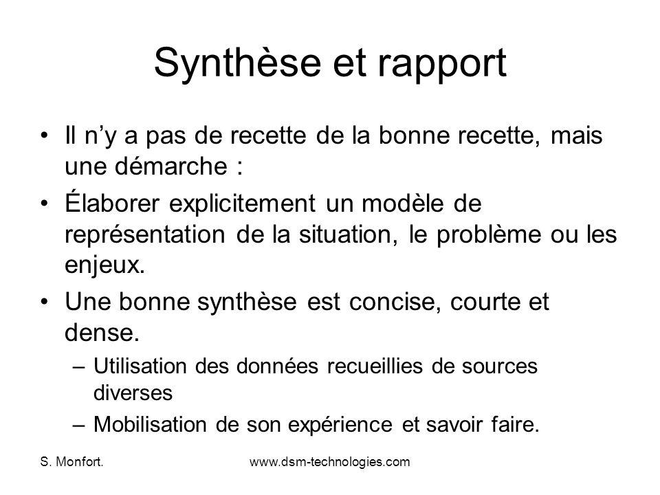 S. Monfort.www.dsm-technologies.com Synthèse et rapport Il ny a pas de recette de la bonne recette, mais une démarche : Élaborer explicitement un modè