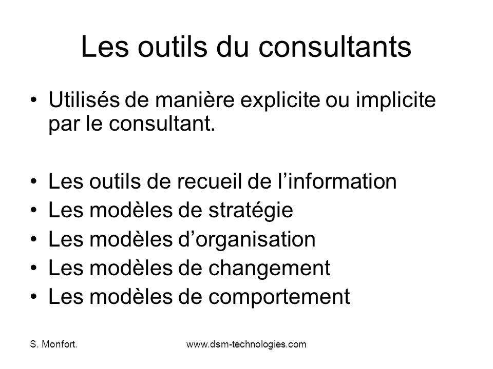 S. Monfort.www.dsm-technologies.com Les outils du consultants Utilisés de manière explicite ou implicite par le consultant. Les outils de recueil de l