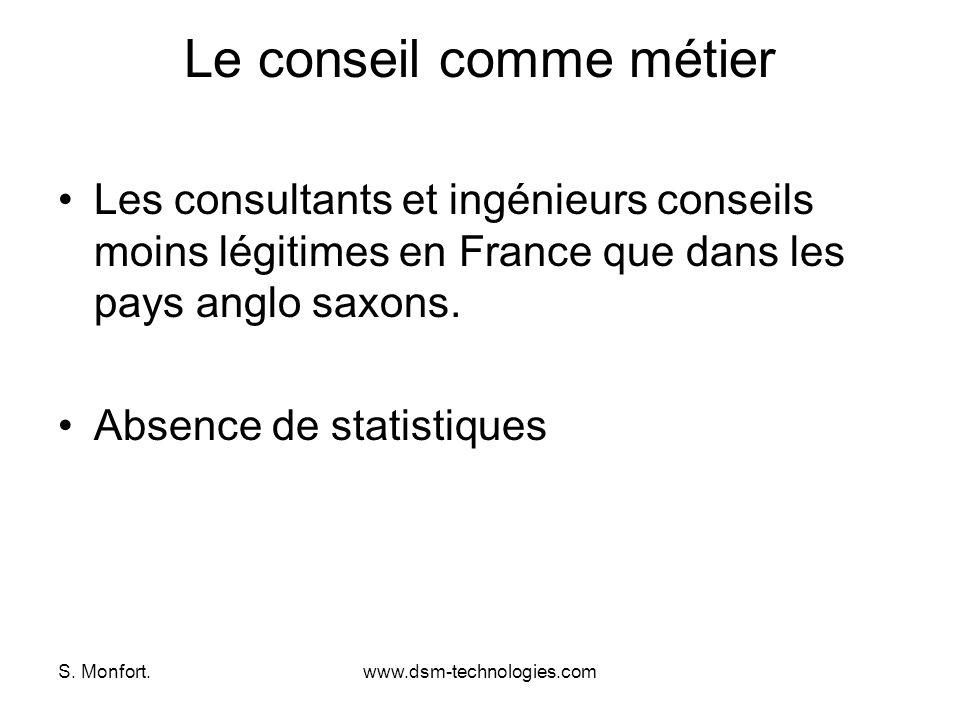 S. Monfort.www.dsm-technologies.com Le conseil comme métier Les consultants et ingénieurs conseils moins légitimes en France que dans les pays anglo s