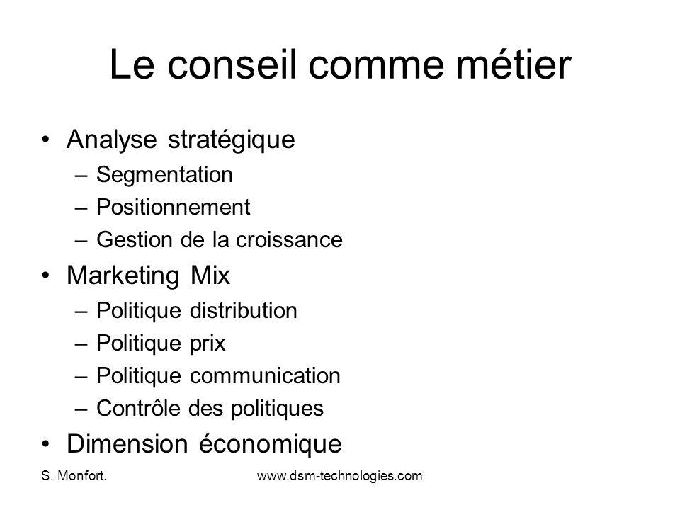 S. Monfort.www.dsm-technologies.com Le conseil comme métier Analyse stratégique –Segmentation –Positionnement –Gestion de la croissance Marketing Mix