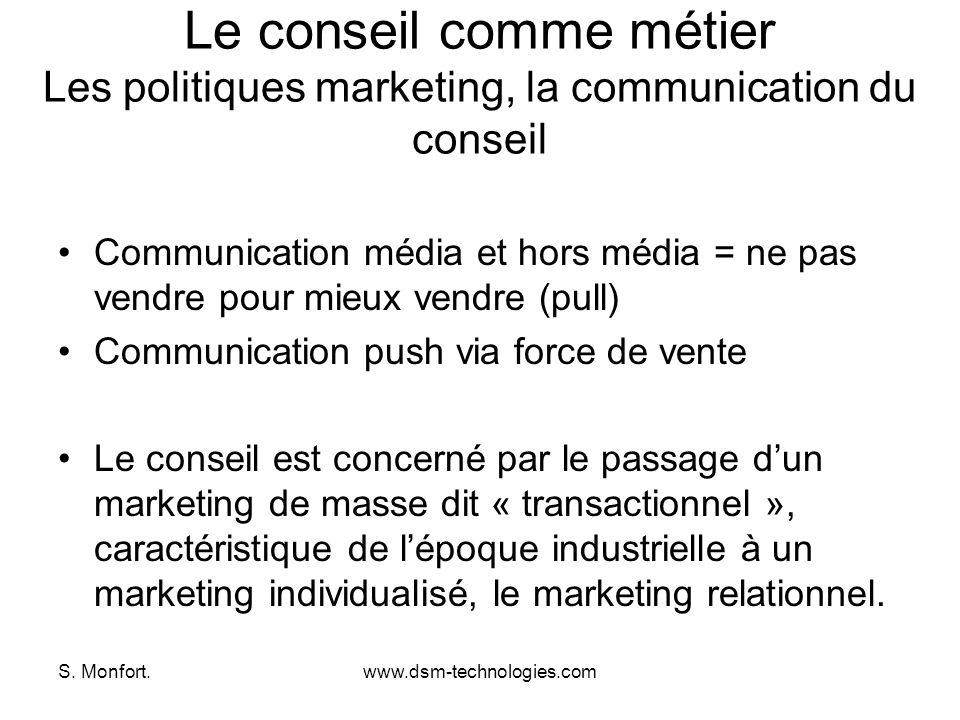 S. Monfort.www.dsm-technologies.com Le conseil comme métier Les politiques marketing, la communication du conseil Communication média et hors média =