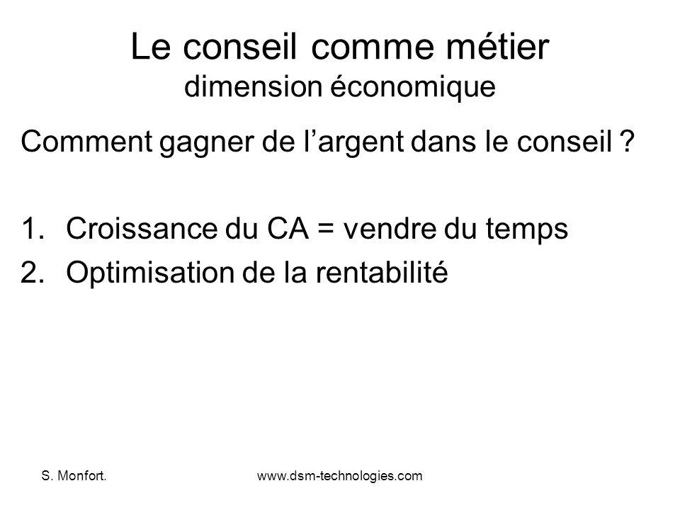 S. Monfort.www.dsm-technologies.com Le conseil comme métier dimension économique Comment gagner de largent dans le conseil ? 1.Croissance du CA = vend