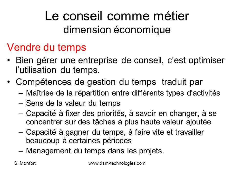 S. Monfort.www.dsm-technologies.com Le conseil comme métier dimension économique Vendre du temps Bien gérer une entreprise de conseil, cest optimiser