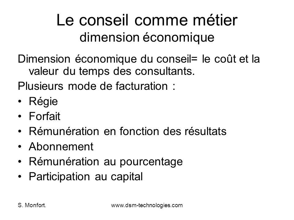 S. Monfort.www.dsm-technologies.com Le conseil comme métier dimension économique Dimension économique du conseil= le coût et la valeur du temps des co