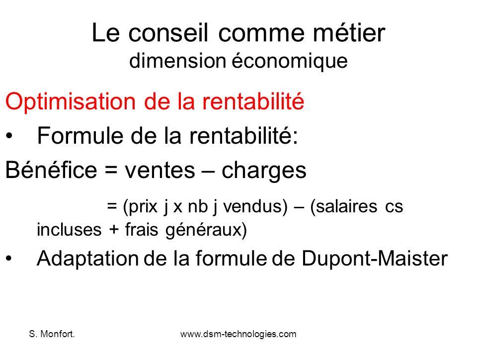 S. Monfort.www.dsm-technologies.com Le conseil comme métier dimension économique Optimisation de la rentabilité Formule de la rentabilité: Bénéfice =