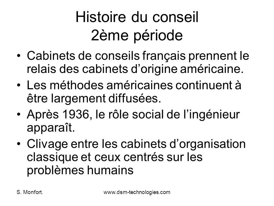 S. Monfort.www.dsm-technologies.com Histoire du conseil 2ème période Cabinets de conseils français prennent le relais des cabinets dorigine américaine
