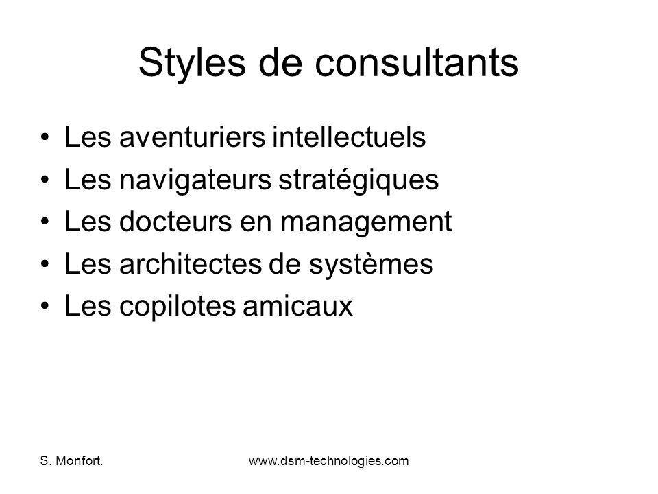 S. Monfort.www.dsm-technologies.com Styles de consultants Les aventuriers intellectuels Les navigateurs stratégiques Les docteurs en management Les ar