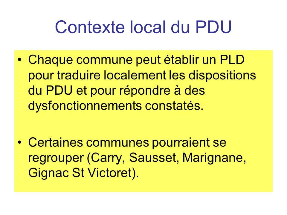 Contexte local du PDU Chaque commune peut établir un PLD pour traduire localement les dispositions du PDU et pour répondre à des dysfonctionnements constatés.