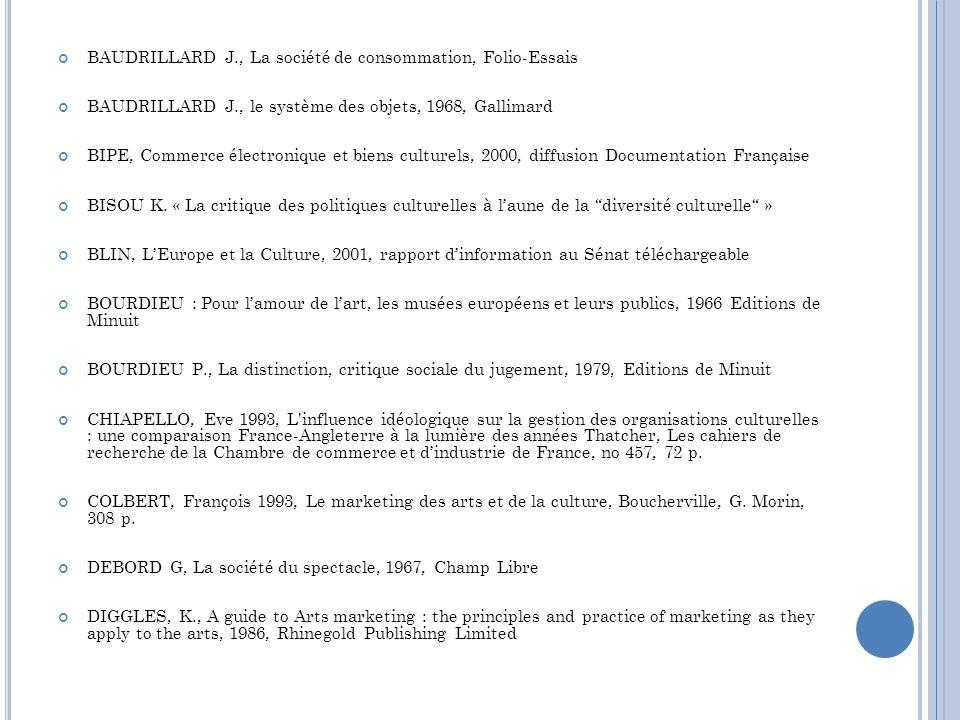BAUDRILLARD J., La société de consommation, Folio-Essais BAUDRILLARD J., le système des objets, 1968, Gallimard BIPE, Commerce électronique et biens c