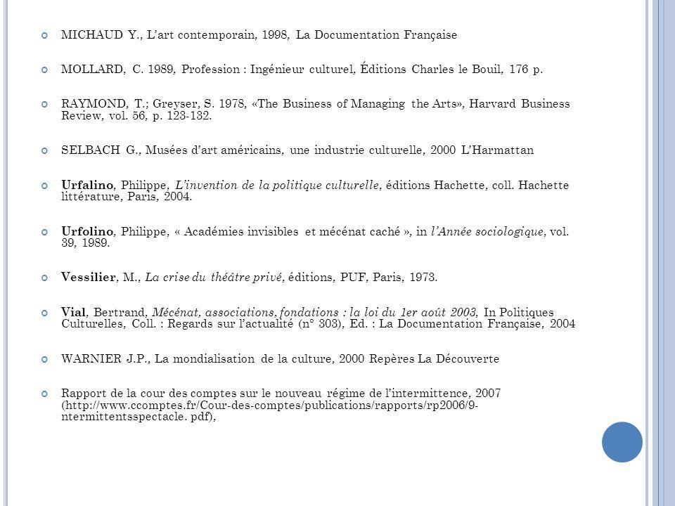 MICHAUD Y., Lart contemporain, 1998, La Documentation Française MOLLARD, C. 1989, Profession : Ingénieur culturel, Éditions Charles le Bouil, 176 p. R