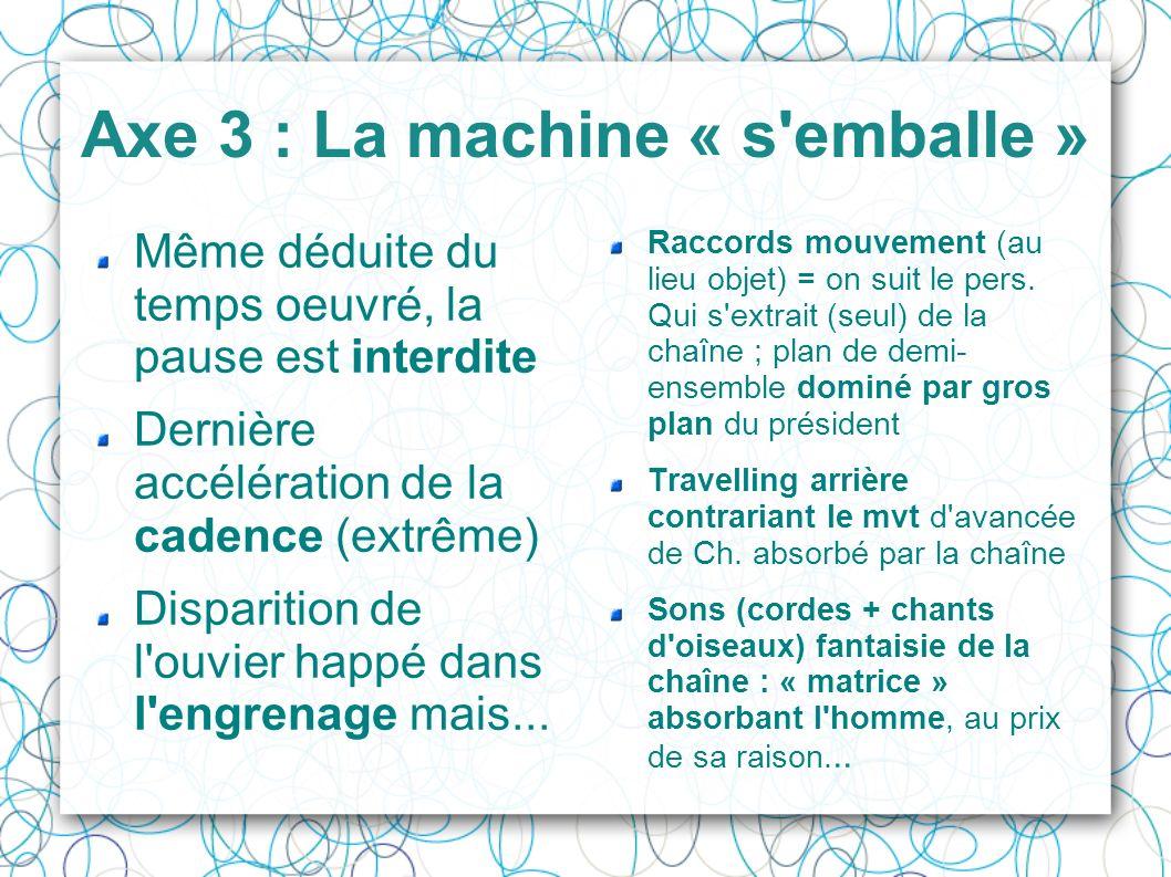 Axe 3 : La machine « s'emballe » Même déduite du temps oeuvré, la pause est interdite Dernière accélération de la cadence (extrême) Disparition de l'o