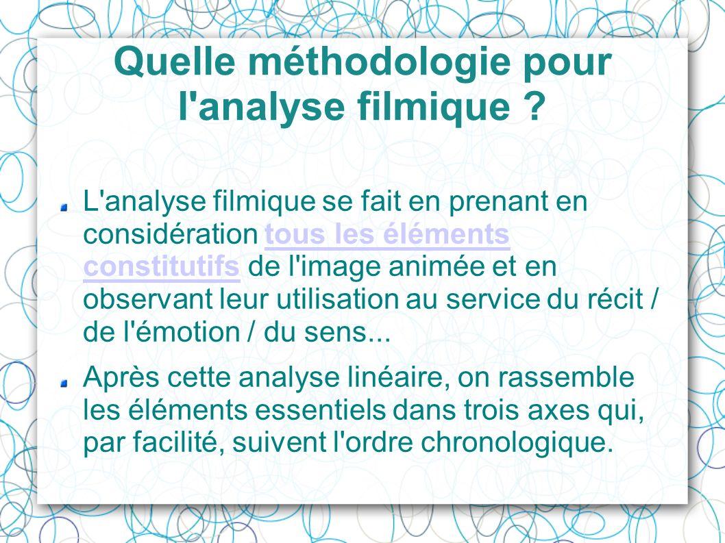 Quelle méthodologie pour l'analyse filmique ? L'analyse filmique se fait en prenant en considération tous les éléments constitutifs de l'image animée
