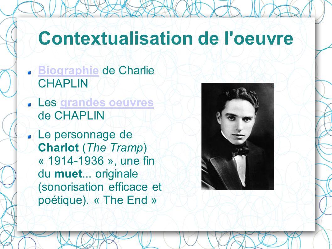 Contextualisation de l'oeuvre BiographieBiographie de Charlie CHAPLIN Les grandes oeuvres de CHAPLINgrandes oeuvres Le personnage de Charlot (The Tram