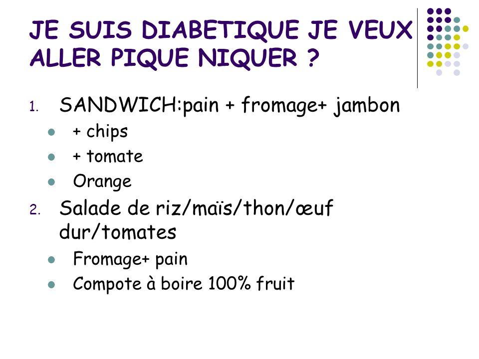 JE SUIS DIABETIQUE JE VEUX ALLER PIQUE NIQUER ? 1. SANDWICH:pain + fromage+ jambon + chips + tomate Orange 2. Salade de riz/maïs/thon/œuf dur/tomates