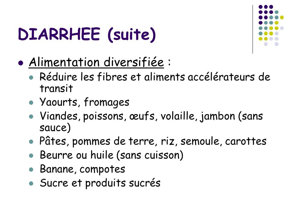 DIARRHEE (suite) Alimentation diversifiée : Réduire les fibres et aliments accélérateurs de transit Yaourts, fromages Viandes, poissons, œufs, volaill