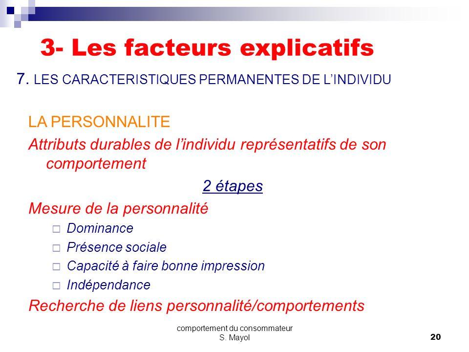 comportement du consommateur S. Mayol19 LA STRUCTURE DES ATTITUDES FACETTE COGNITIVE (CROYANCES ENVERS LOBJET) FACETTE AFFECTIVE (EVALUATION DE LOBJET