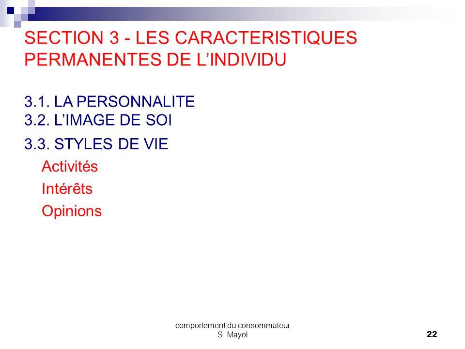 comportement du consommateur S. Mayol21 LIMAGE DE SOI image de soi & images des produits et des marques choisis 7. LES CARACTERISTIQUES PERMANENTES DE