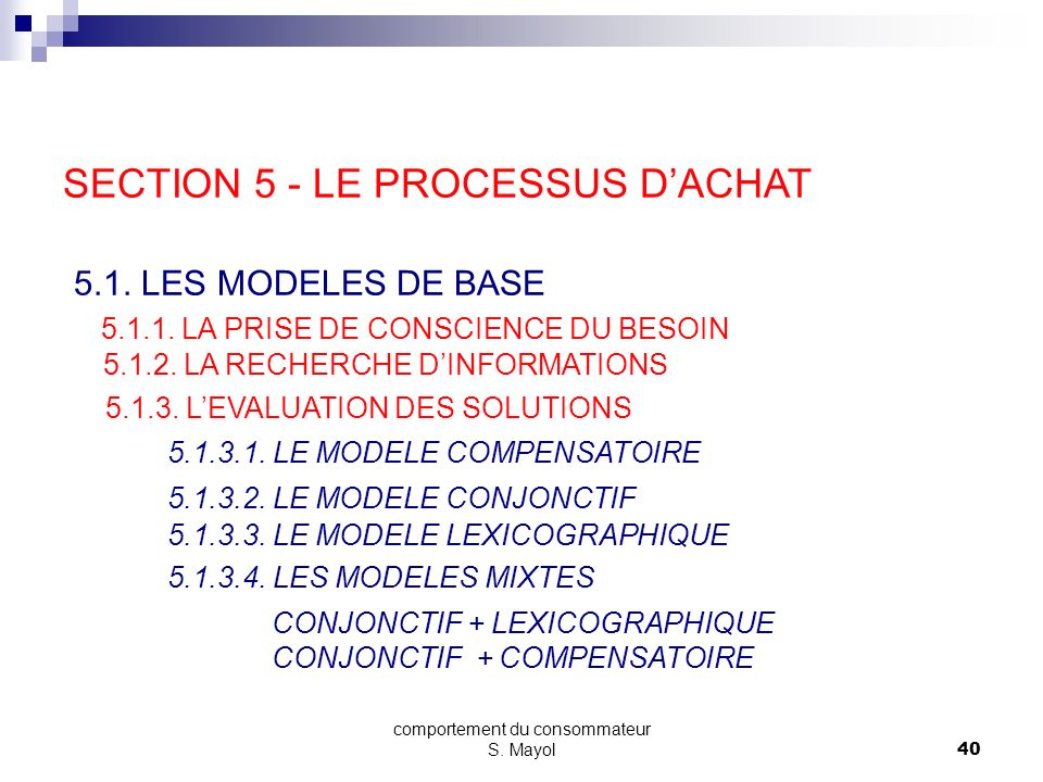 comportement du consommateur S. Mayol39 5.1.3.4. LES MODELES MIXTES CONJONCT. + LEXICO. Poids de lattribut i Marque AMarque BMarque C ATTRIBUTS RETENU