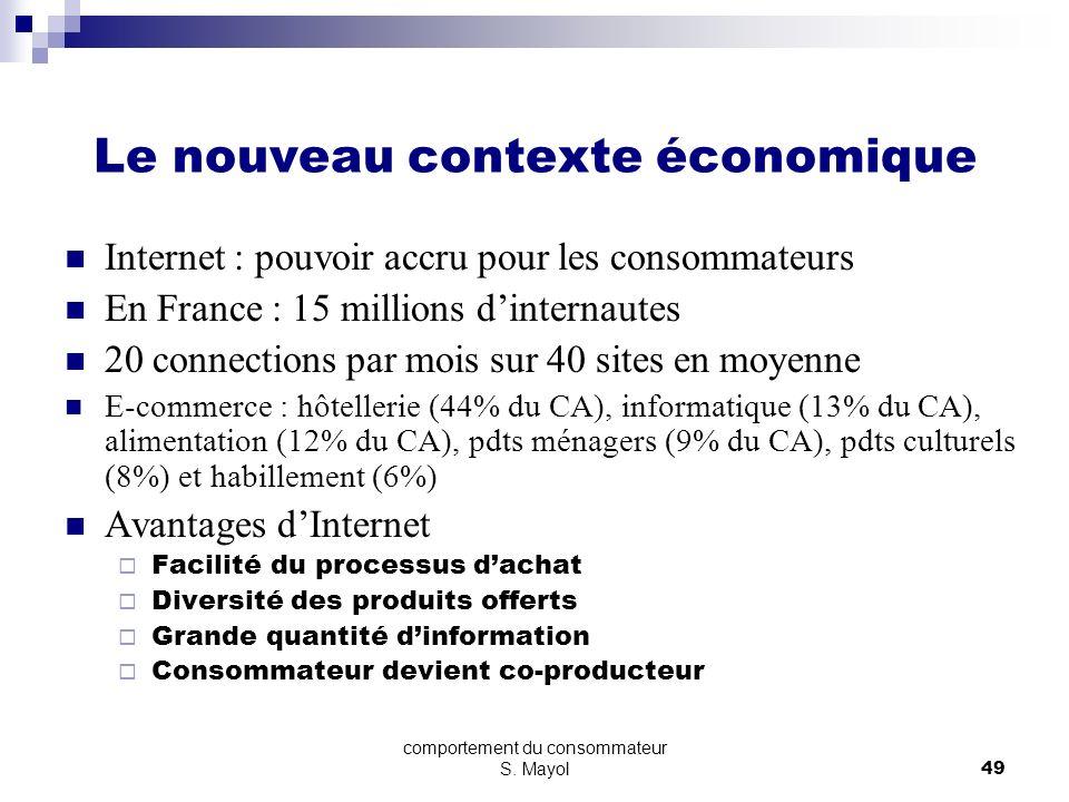 comportement du consommateur S. Mayol48 Le nouveau contexte économique Mondialisation Internationalisation des marchés Concurrence étrangère Positionn