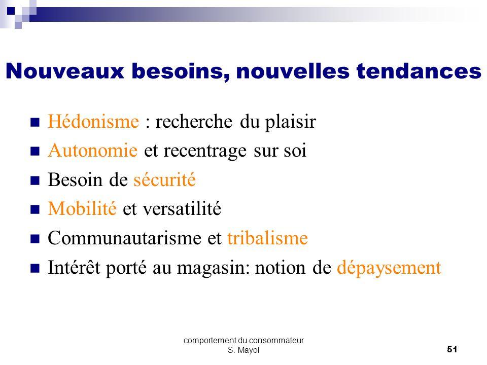 comportement du consommateur S. Mayol50 Nouveaux besoins, nouvelles tendances Individu plus mature Individu plus exigeant Individu plus expert Exprime