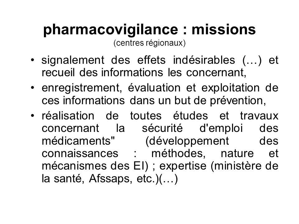 pharmacovigilance : missions (centres régionaux) signalement des effets indésirables (…) et recueil des informations les concernant, enregistrement, é