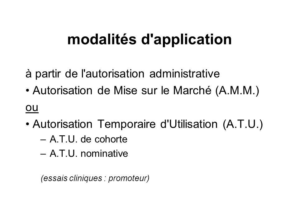 modalités d'application à partir de l'autorisation administrative Autorisation de Mise sur le Marché (A.M.M.) ou Autorisation Temporaire d'Utilisation