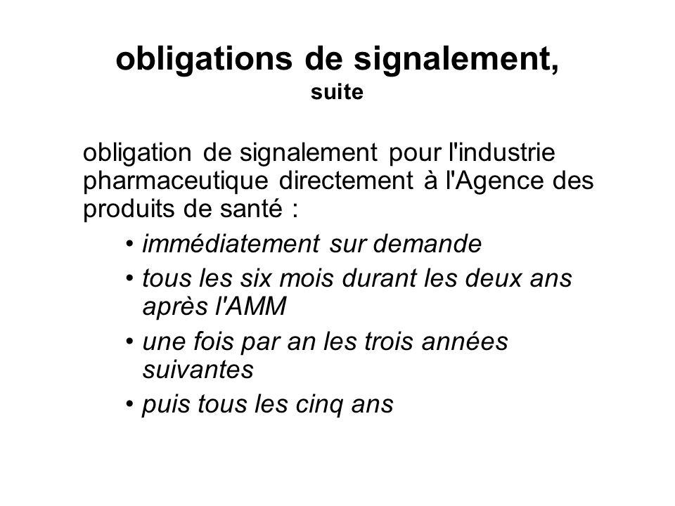 obligations de signalement, suite obligation de signalement pour l'industrie pharmaceutique directement à l'Agence des produits de santé : immédiateme