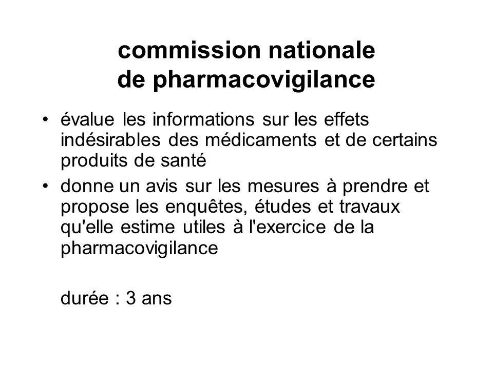 commission nationale de pharmacovigilance évalue les informations sur les effets indésirables des médicaments et de certains produits de santé donne u