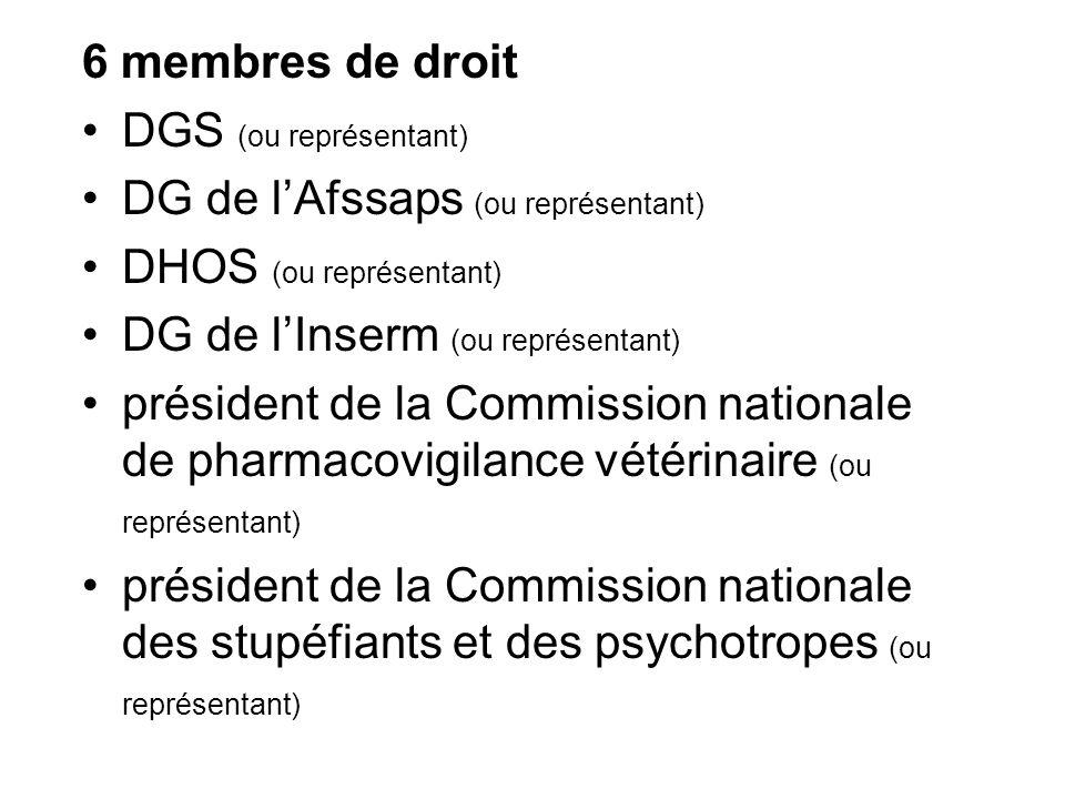 6 membres de droit DGS (ou représentant) DG de lAfssaps (ou représentant) DHOS (ou représentant) DG de lInserm (ou représentant) président de la Commi