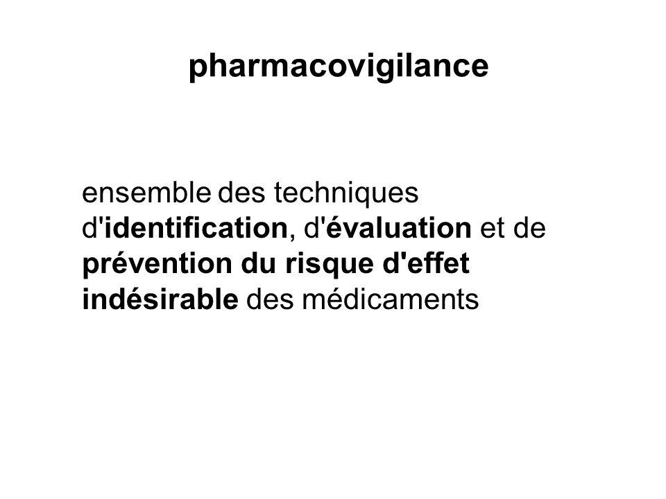 pharmacovigilance ensemble des techniques d'identification, d'évaluation et de prévention du risque d'effet indésirable des médicaments