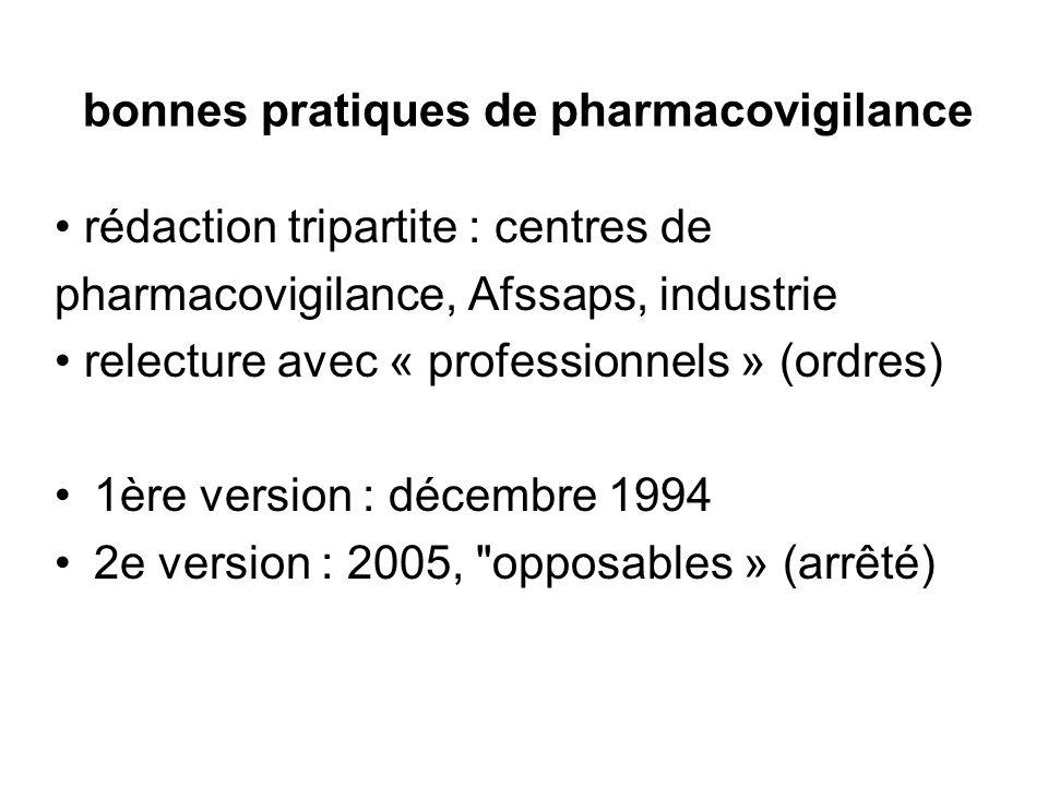 bonnes pratiques de pharmacovigilance rédaction tripartite : centres de pharmacovigilance, Afssaps, industrie relecture avec « professionnels » (ordre