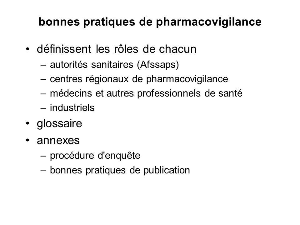bonnes pratiques de pharmacovigilance définissent les rôles de chacun –autorités sanitaires (Afssaps) –centres régionaux de pharmacovigilance –médecin