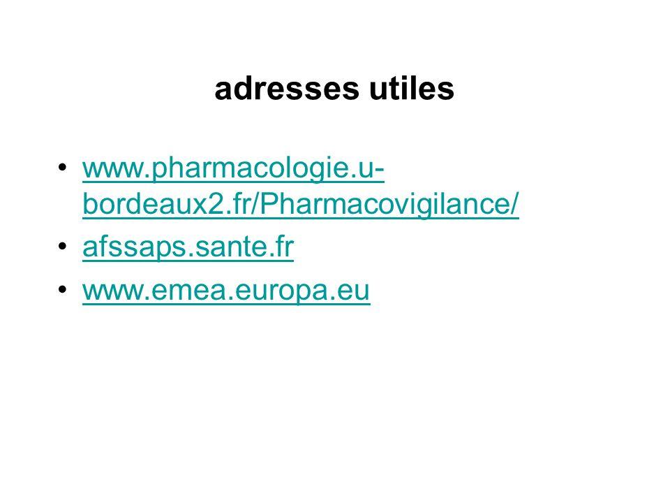 adresses utiles www.pharmacologie.u- bordeaux2.fr/Pharmacovigilance/www.pharmacologie.u- bordeaux2.fr/Pharmacovigilance/ afssaps.sante.fr www.emea.eur