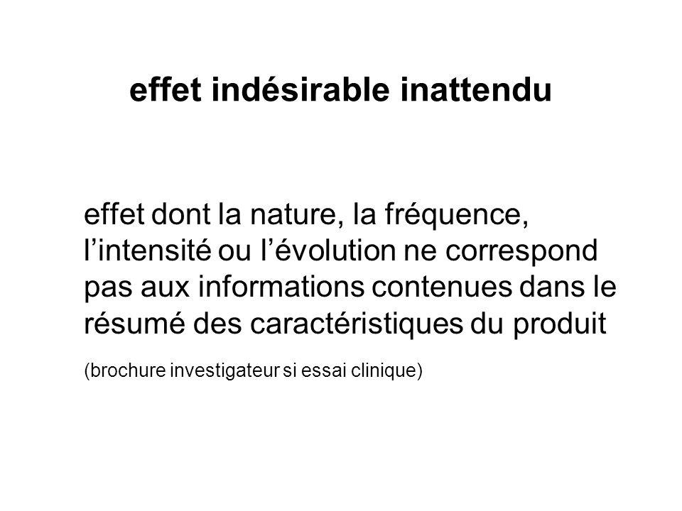 effet indésirable inattendu effet dont la nature, la fréquence, lintensité ou lévolution ne correspond pas aux informations contenues dans le résumé d