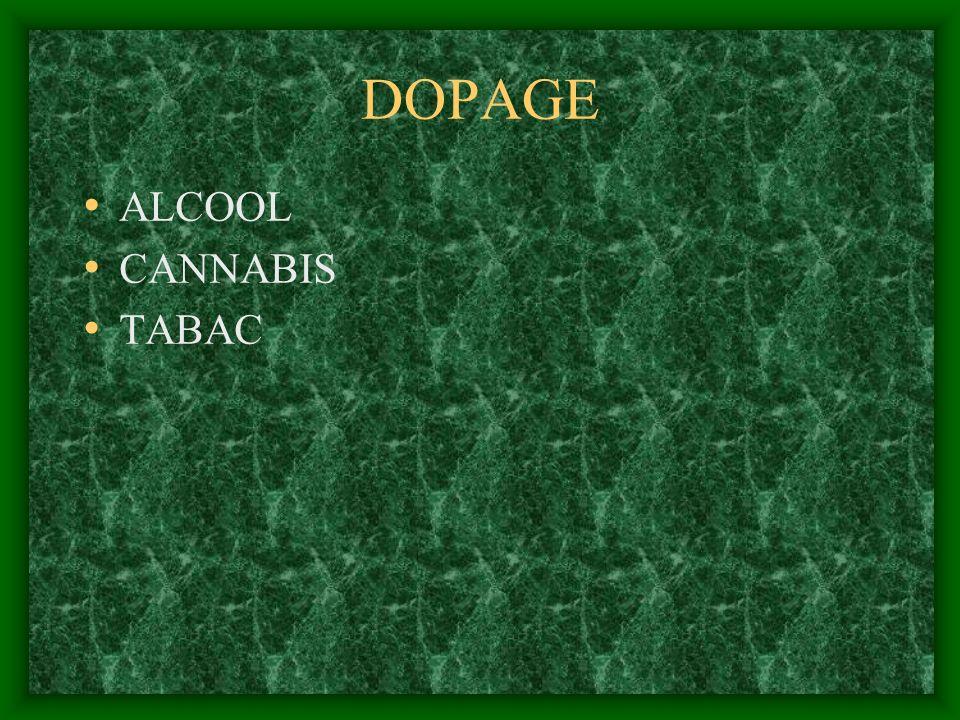 DOPAGE ALCOOL CANNABIS TABAC