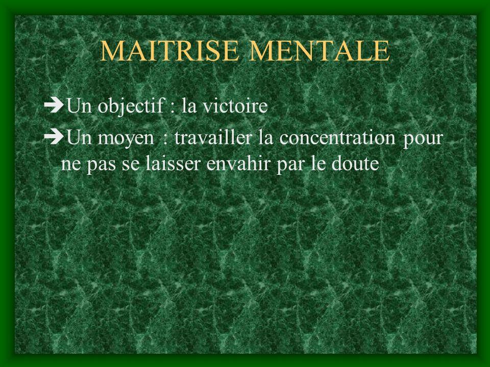 MAITRISE MENTALE Un objectif : la victoire Un moyen : travailler la concentration pour ne pas se laisser envahir par le doute