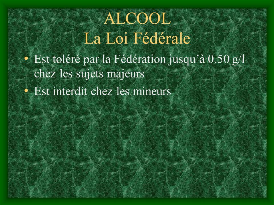 ALCOOL La Loi Fédérale Est toléré par la Fédération jusquà 0.50 g/l chez les sujets majeurs Est interdit chez les mineurs