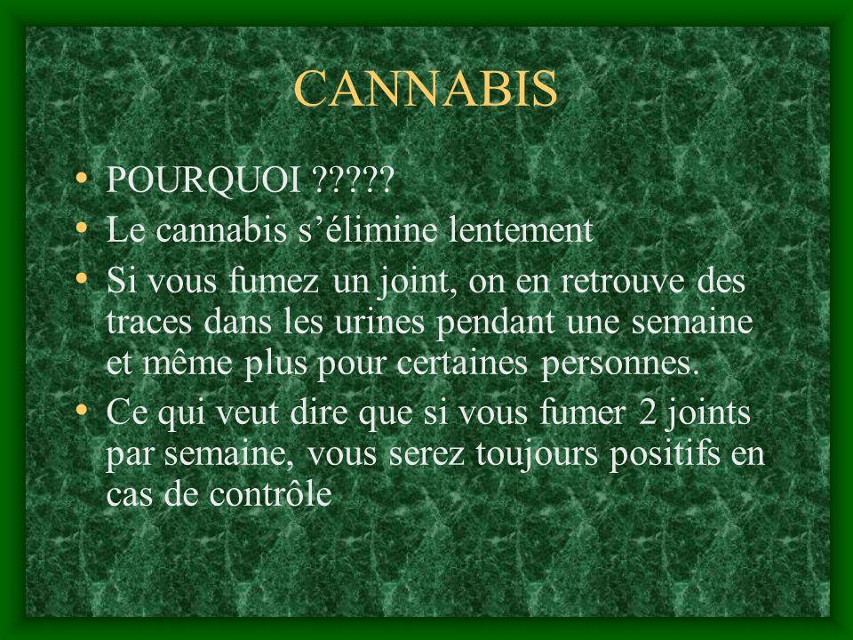 CANNABIS POURQUOI ????? Le cannabis sélimine lentement Si vous fumez un joint, on en retrouve des traces dans les urines pendant une semaine et même p