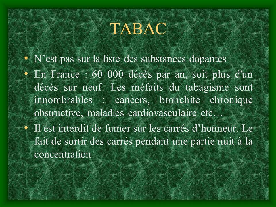 TABAC Nest pas sur la liste des substances dopantes En France : 60 000 décès par an, soit plus d'un décès sur neuf. Les méfaits du tabagisme sont inno