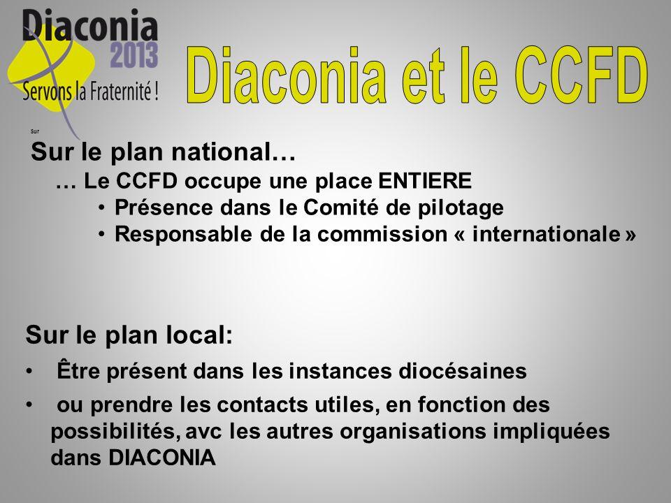 Sur Sur le plan national… … Le CCFD occupe une place ENTIERE Présence dans le Comité de pilotage Responsable de la commission « internationale » Sur l
