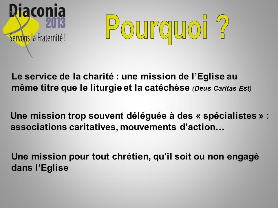 Le service de la charité : une mission de lEglise au même titre que le liturgie et la catéchèse (Deus Caritas Est) Une mission trop souvent déléguée à