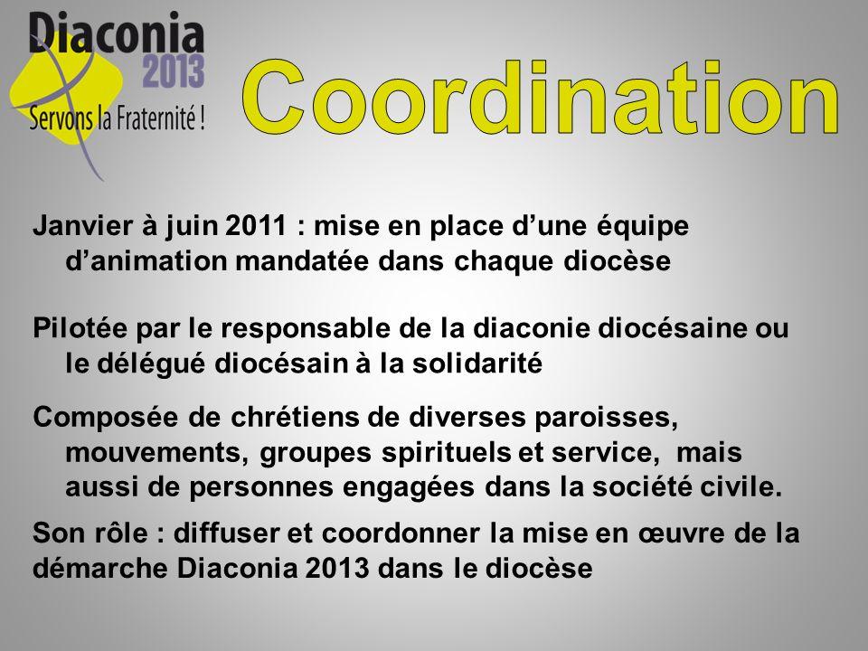 Janvier à juin 2011 : mise en place dune équipe danimation mandatée dans chaque diocèse Pilotée par le responsable de la diaconie diocésaine ou le dél