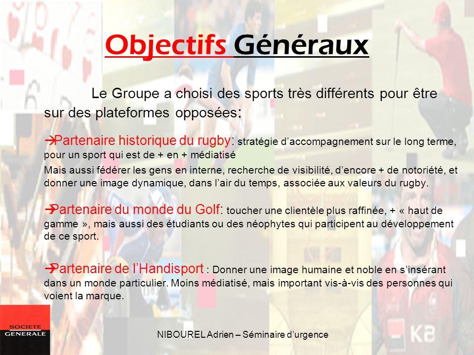 NIBOUREL Adrien – Séminaire durgence Objectifs Généraux Le Groupe a choisi des sports très différents pour être sur des plateformes opposées : Partena