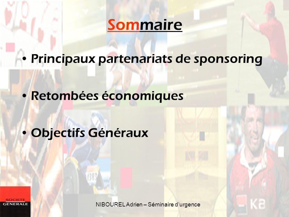 NIBOUREL Adrien – Séminaire durgence Sommaire Principaux partenariats de sponsoring Retombées économiques Objectifs Généraux