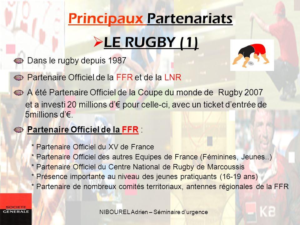 NIBOUREL Adrien – Séminaire durgence Principaux Partenariats Dans le rugby depuis 1987 Partenaire Officiel de la FFR et de la LNR A été Partenaire Off