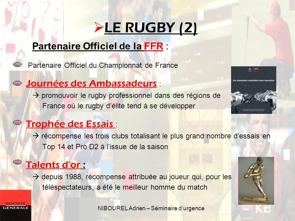 NIBOUREL Adrien – Séminaire durgence Partenaire Officiel de la FFR : Partenaire Officiel du Championnat de France Journées des Ambassadeurs : promouvo