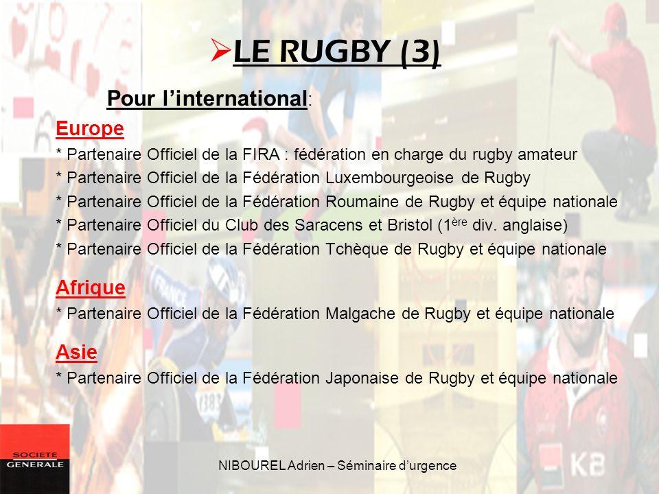 NIBOUREL Adrien – Séminaire durgence Pour linternational : Europe * Partenaire Officiel de la FIRA : fédération en charge du rugby amateur * Partenair