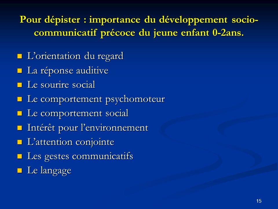 15 Pour dépister : importance du développement socio- communicatif précoce du jeune enfant 0-2ans.