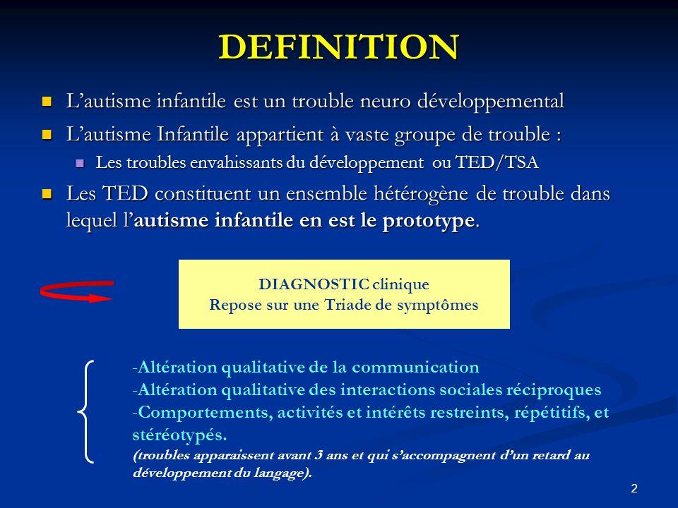 13 DEPISTAGE PRECOCE Identification de symptômes Identification de comportements Niv.